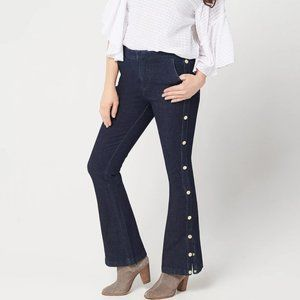 G.I.L.I. Dual Stretch Side Button Flared Jeans
